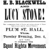 Advertisement for Talk by Suffragists Lucy Stone and Henry Blackwell, 1866 Teaser