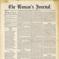 Front Page of First Issue of Woman's Journal Teaser