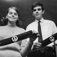 Mary Beth Tinker and her brother, John, display two black armbands. Wearing them to school led to the Supreme Court case Tinker v. Des Moines.