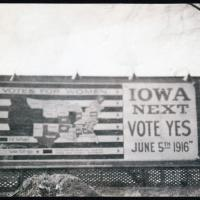 Pro-Suffrage Billboard in Iowa, 1916