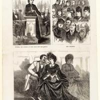 Engraving of Victoria Woodhull Lecturing on Free Love
