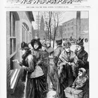 Engraving of Women Voting in Wyoming, Nov. 24, 1888