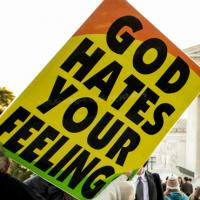 One of the signs held by protesters from the Westboro Baptist Church.