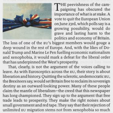 'The Economist' Advocates Staying in EU, 2016 (2 of 3)