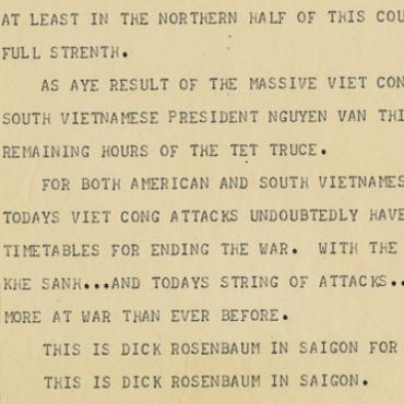 Early Teletype Report on Tet Offensive, 1968