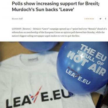 Report: U.K. Voters Leaning Toward 'Leave,' 2016