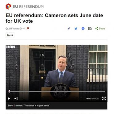 David Cameron Sets Date for EU Referendum, 2016