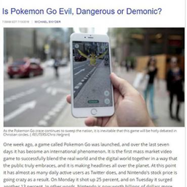 Writer Says Pokémon Go Poses Spiritual Dangers, 2016 Teaser