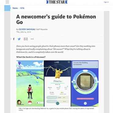 Toronto Paper Explains Pokémon Go Phenomenon, 2016 Teaser