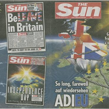 'The Sun' Celebrates Brexit Vote Result, 2016