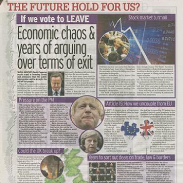 'Daily Mirror' Predicts Impact of Brexit Vote, 2016