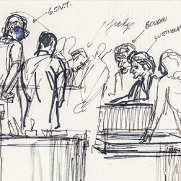 Courtroom sketch of The New York Times v. United States case.