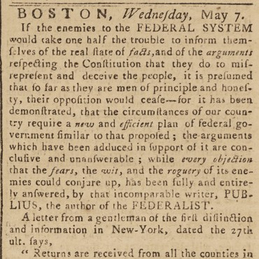 Essay Dismisses Objections to Constitution, 1788 Teaser