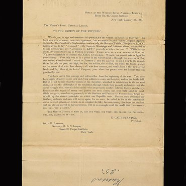 Letter From Elizabeth Cady Stanton About an Abolitionist Petition, 1864