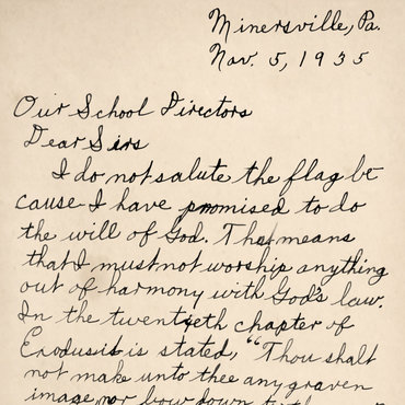 Letter from Gobitas to School Officials, 1935 teaser