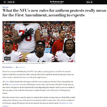 Article Dissects Legal Issues over NFL Protests teaser