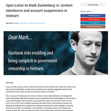 Open Letter Critical of Facebook Policy in Vietnam teaser