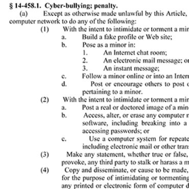 N.C. Statute Bans Cyberbullying, 2009 teaser