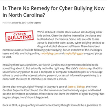 Attorney Blogs About Cyberbullying Laws, 2017 teaser