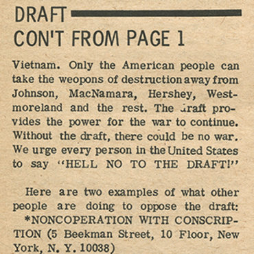 Anti-War Paper Offers Ways to Resist Draft, 1967 teaser