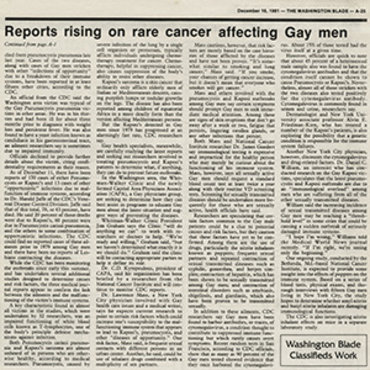 Gay Paper Covers Early AIDS Cases, 1981 (2 of 2) teaser