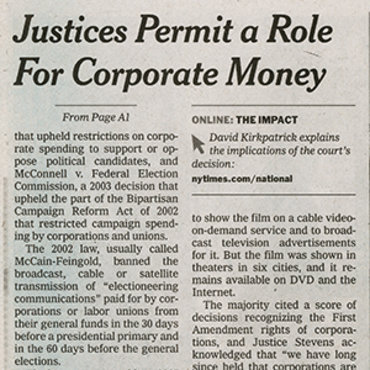 N.Y. 'Times' Covers Citizens United Ruling (2 of 3) teaser