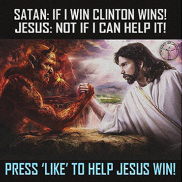 This image depicting the 2016 presidential election as a showdown between Satan and Jesus was created by Russian operatives who hoped it would deepen political divisions.