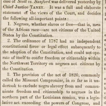The Daily National Intelligencer reprints the main points of the Dred Scott decision on page 3 in the second column from the left.