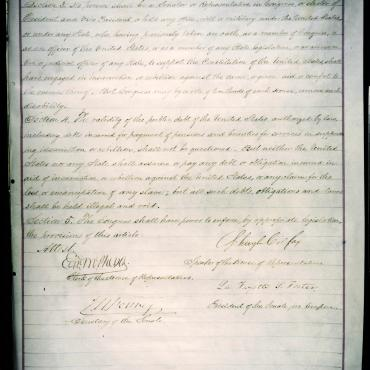 Last Page of House Joint Resolution Proposing 14th Amendment