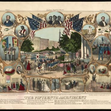 Lithograph Celebrating the 15th Amendment, 1870 (Civil Rights)