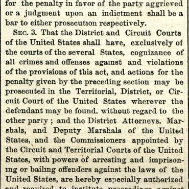 Newspaper Column Containing Full Text of the Civil Rights Act of 1875