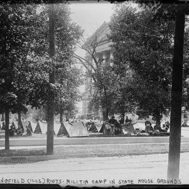 Militia on the Illinois State House Grounds, 1908