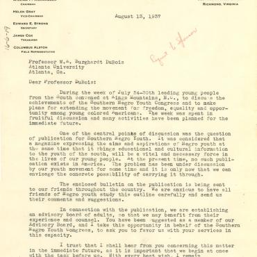 Southern Negro Youth Congress Letter