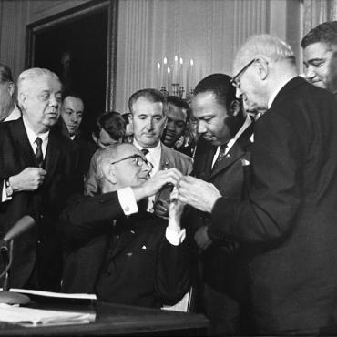 President Johnson Signs Civil Rights Act Into Law, 1964