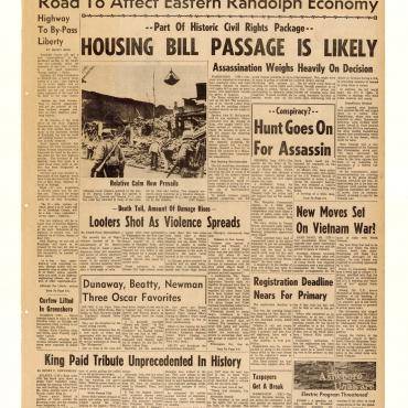N.C. Paper Covers King Funeral, Civil Rights Bill
