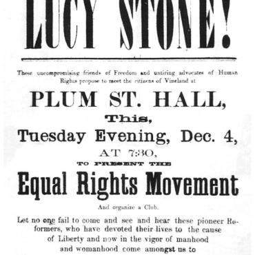 Advertisement for Talk by Suffragists Lucy Stone and Henry Blackwell,