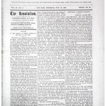 Newspaper Coverage of National Woman Suffrage Association, 1869
