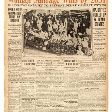 Newspaper Coverage of California Suffrage Victory, Oct. 13, 1911