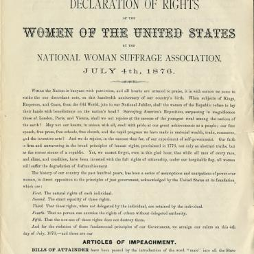 'Declaration of Rights of the Women of the United States,' 1876