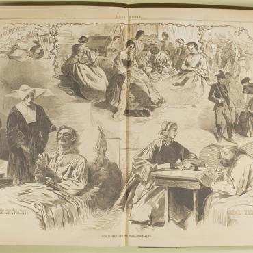 'Harper's Weekly' Illustration of Women in Civil War Effort, 1862