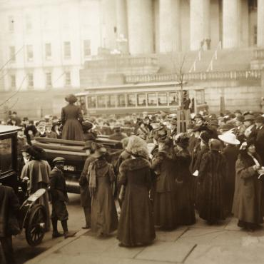 Suffragist Mary Beard Addresses Crowd, 1913