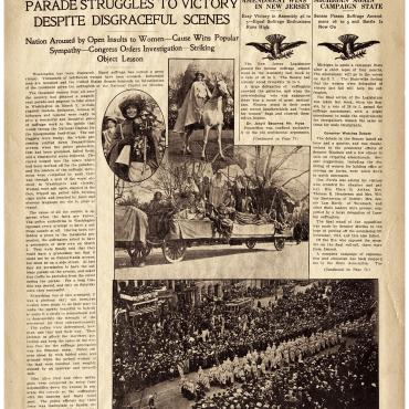Newspaper Coverage of D.C. Suffrage Parade, March 1913