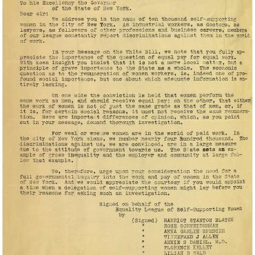 Letter from the Equality League of Self-Supporting Women, June 8, 1907