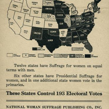 Pro-Suffrage Flier With Map of Women's Suffrage Rights, 1918