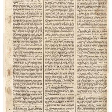 Newspaper Printing of Constitution Adopted at 1787 Convention