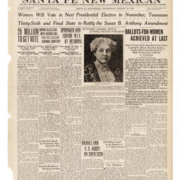 Newspaper Coverage of the Ratification of the 19th Amendment, Aug. 18, 1920