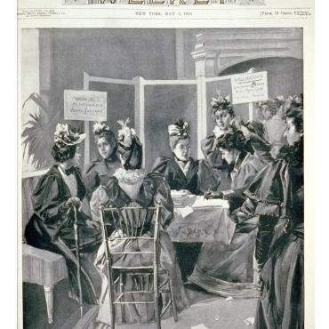 Illustration of New York Suffragists Gathering Petition Signatures, 1894