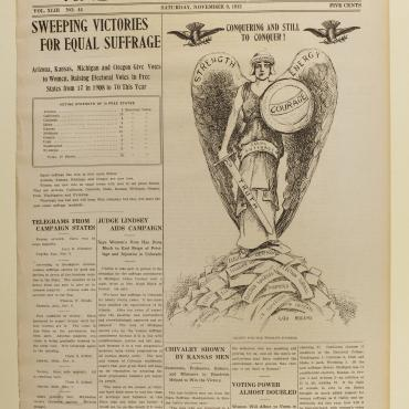 Newspaper Coverage of Suffrage Victories in Ore., Ariz. and Kansas, 1912
