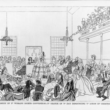 A wood engraving of a women's rights convention