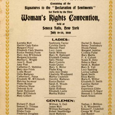 card from a 1908 commemoration of the Seneca Falls Convention